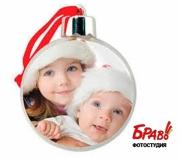 Ёлочный шар с фотографией (пластиковый)